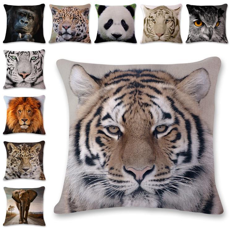 靠枕套 3D数码印花老虎 狮子多种动物亚麻布抱枕套