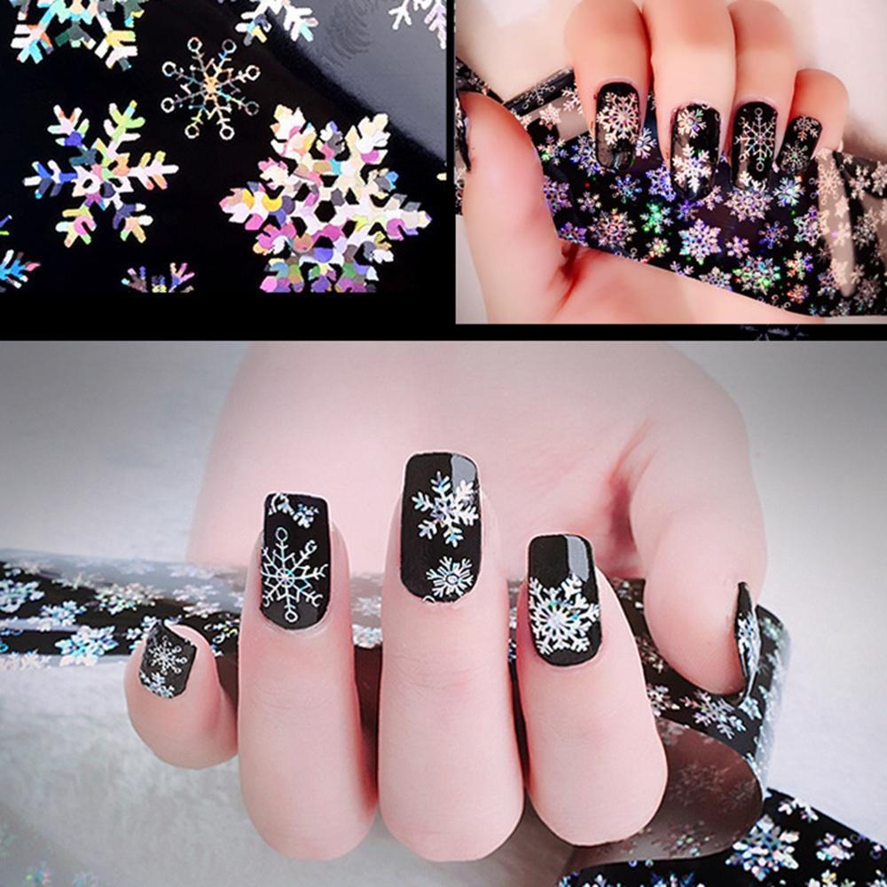 Рождественские снежинки падают белым золотом серебряные наклейки для ногтей 3D декорации переносят 2P979