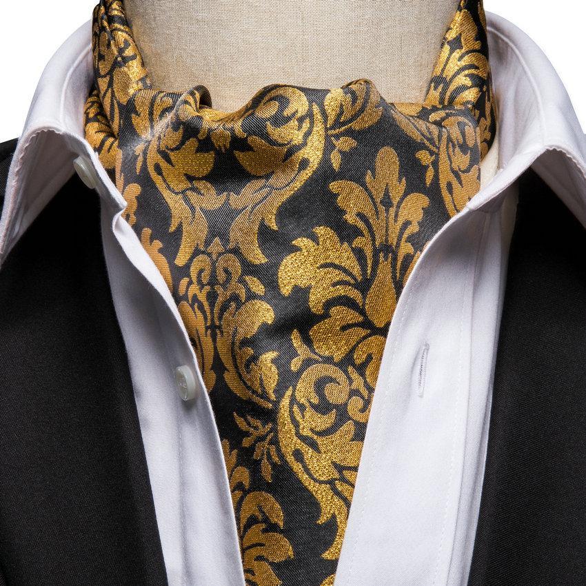 Brown Blue Paisley Mens Silk Ascot Cravat Tie Set Hanky Cufflinks Wedding New