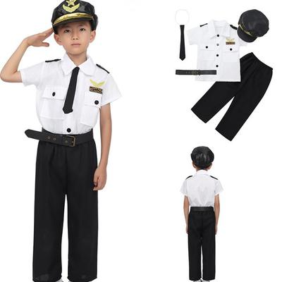 Kids Girls Police Officer Uniform Costume Cosplay Festival Party Dress Outfit