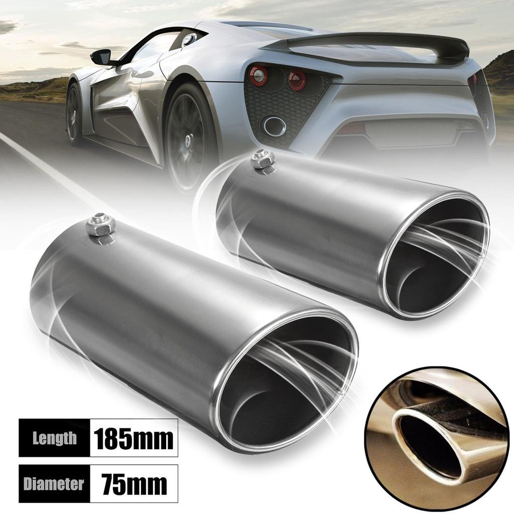 70mm Chrome Car Straight Tail Exhaust Pipe Tip End Trim cover universal 50mm