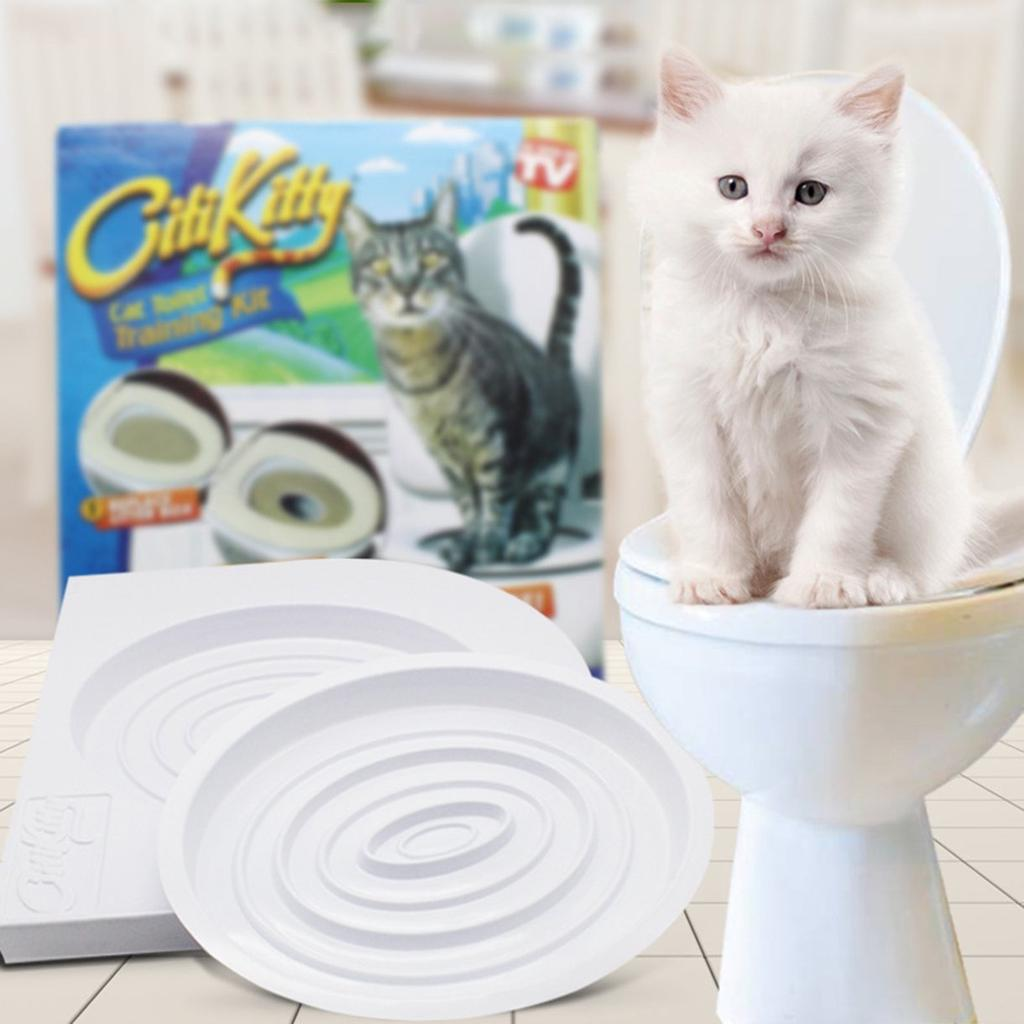 Pet Cat Туалет Обучение Kit Kitty Potty Поезд система Tray фото