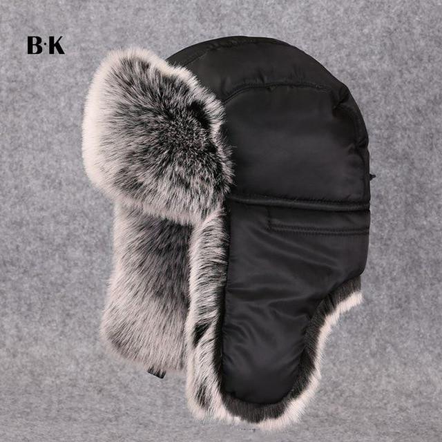 821e4668edca0 Winter Hats Ushanka Fluffy Faux Fur Russian Men Bomber Trapper Hat ...