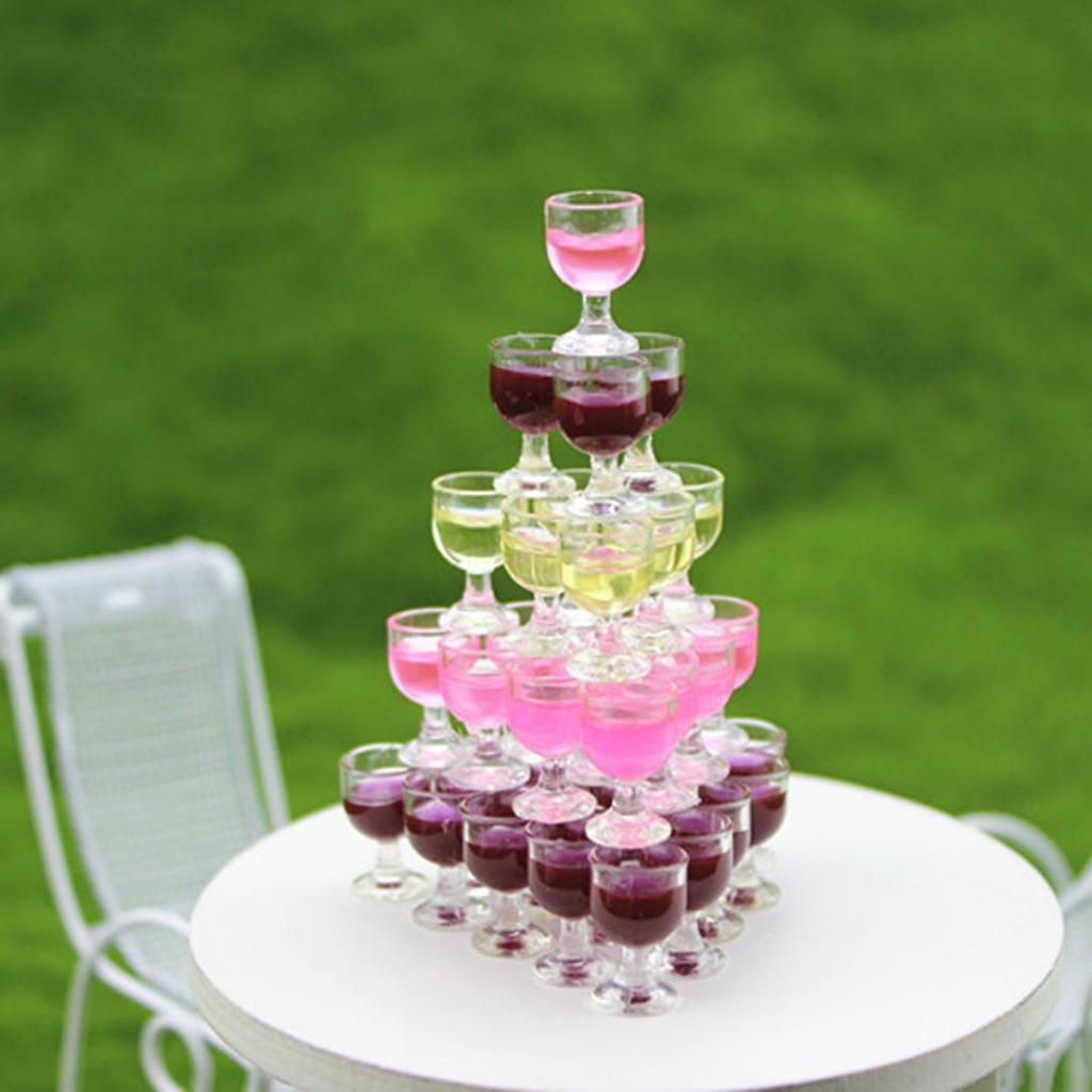 4pcs 1//12 dollhouse miniature clear wine drink cups toys kids doll accessoryNIU
