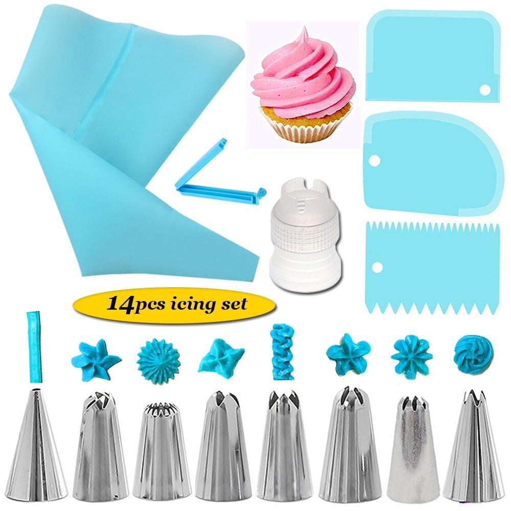 14Pcs Cake Decorating Supplies Kit Cake Baking Tools Cupcake Icing Tools