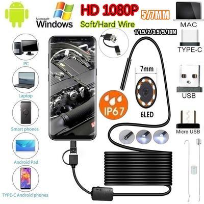 3IN1 Type HD Endoscope HD Endoscope Camera USB 2 M 5 M 10 M Hard Wire 5.5/ 7 Mm Endoscopy Camera