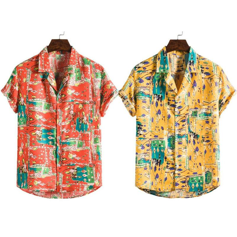 Mens Short Sleeve Vintage Printed Casual Shirts Party Beach Loose Shirt Stag Top