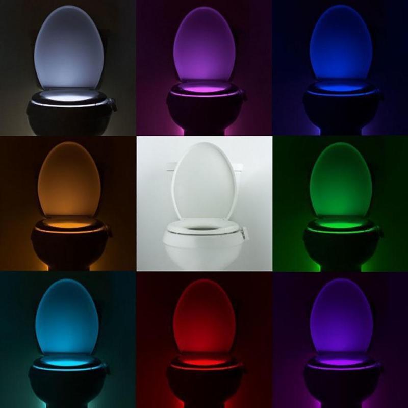 RGB светодиодные водонепроницаемые ванной туалет ночь легкие тела движения сиденья светильник аварийного освещения фото