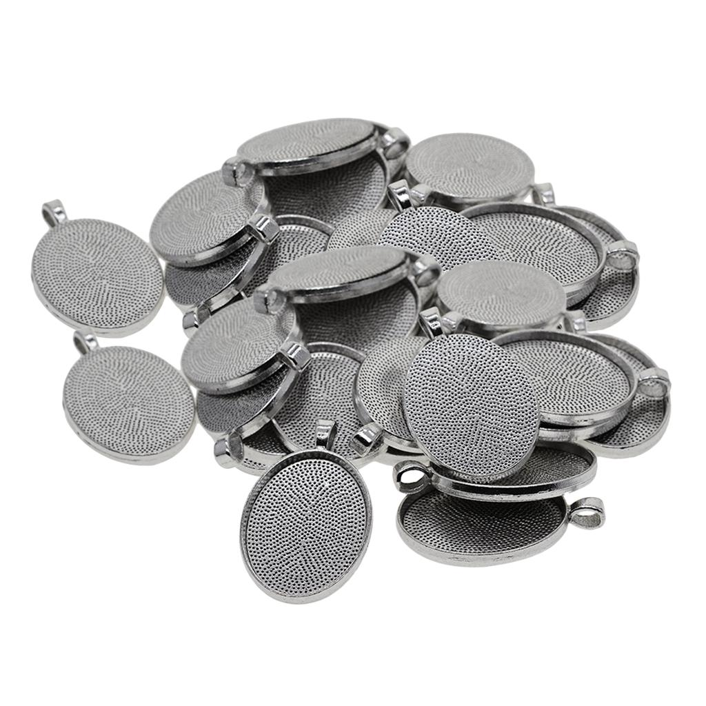 50x 12-20mm Tibetan Silver Round Cameo Cabochon Pendant Jewelry Blanks Trays