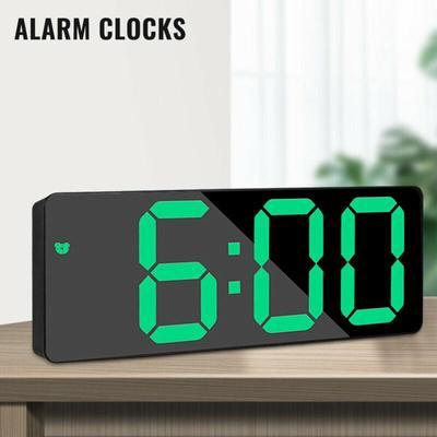 Pdtoweb New Mirror LED Alarm Clock Night Light Thermometer Digital Clock USB Charging