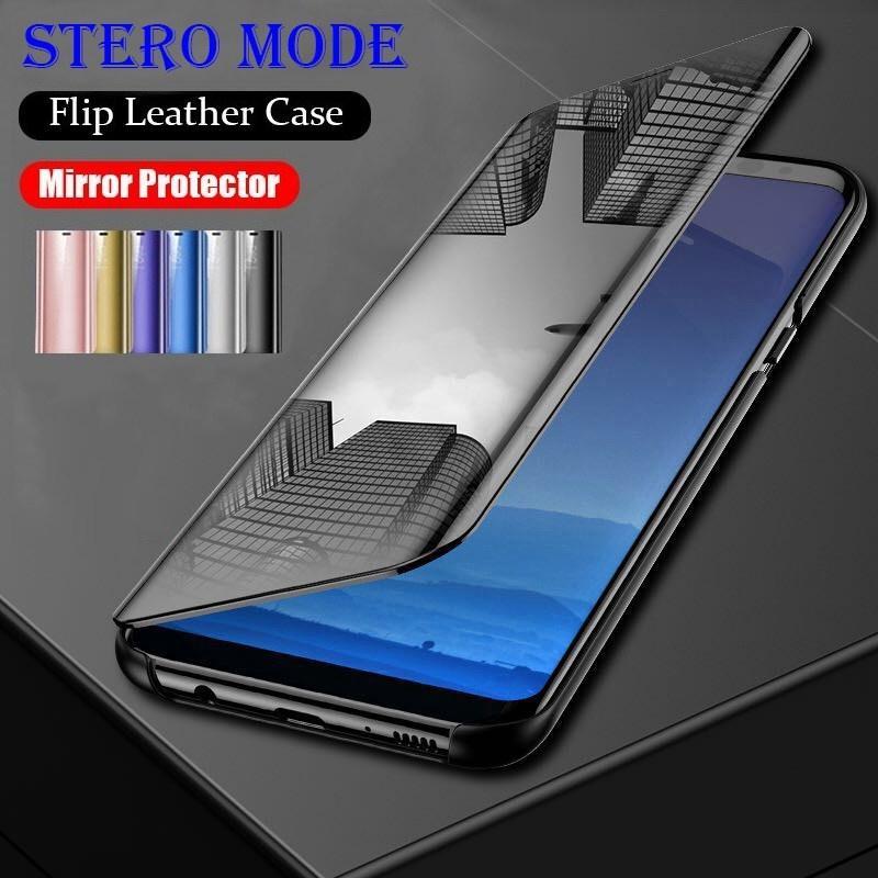 Для iPhone XS XR 8Plus 8 7Plus 7 Зеркало Smart Flip Кожаный телефон Чехол для Samsung S7 S8 S10 S10e фото