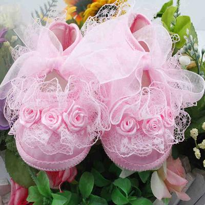 Sweet Kids Baby Girls Crib Shoes Lace Flower Soft Sole Newborn Crib Shoes