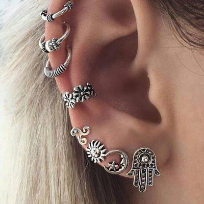8 Pcs/set Bohemian Vintage Sun Moon Stud Earrings Ear Clip Sets Women Birthday Party Jewelry Gifts
