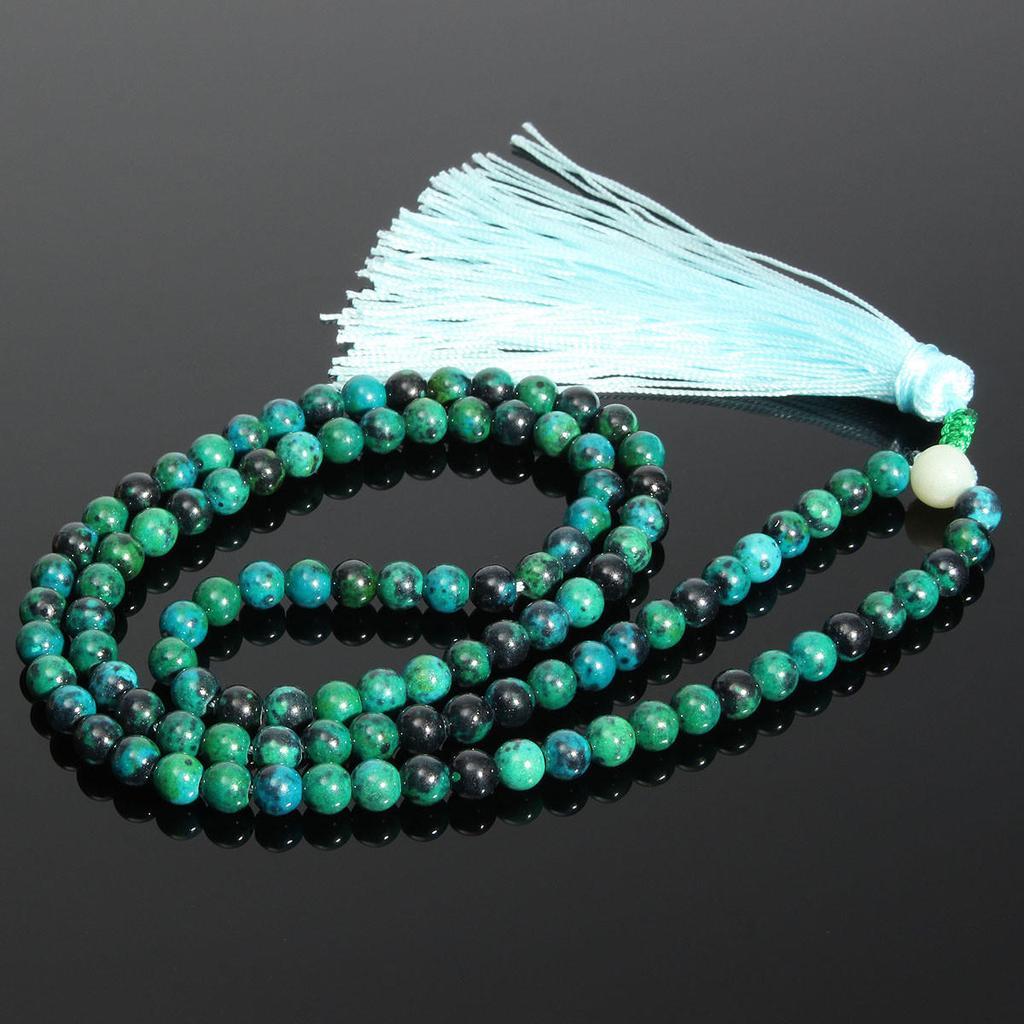 Boho Black Turquoise Mala Necklace The Black Pearl Tibetan silver White Jade