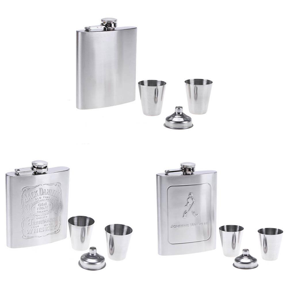 7oz Stainless Steel Drink Mugs Hip Flask Liquor Flagon+Cups Funnel Box Set Gifts