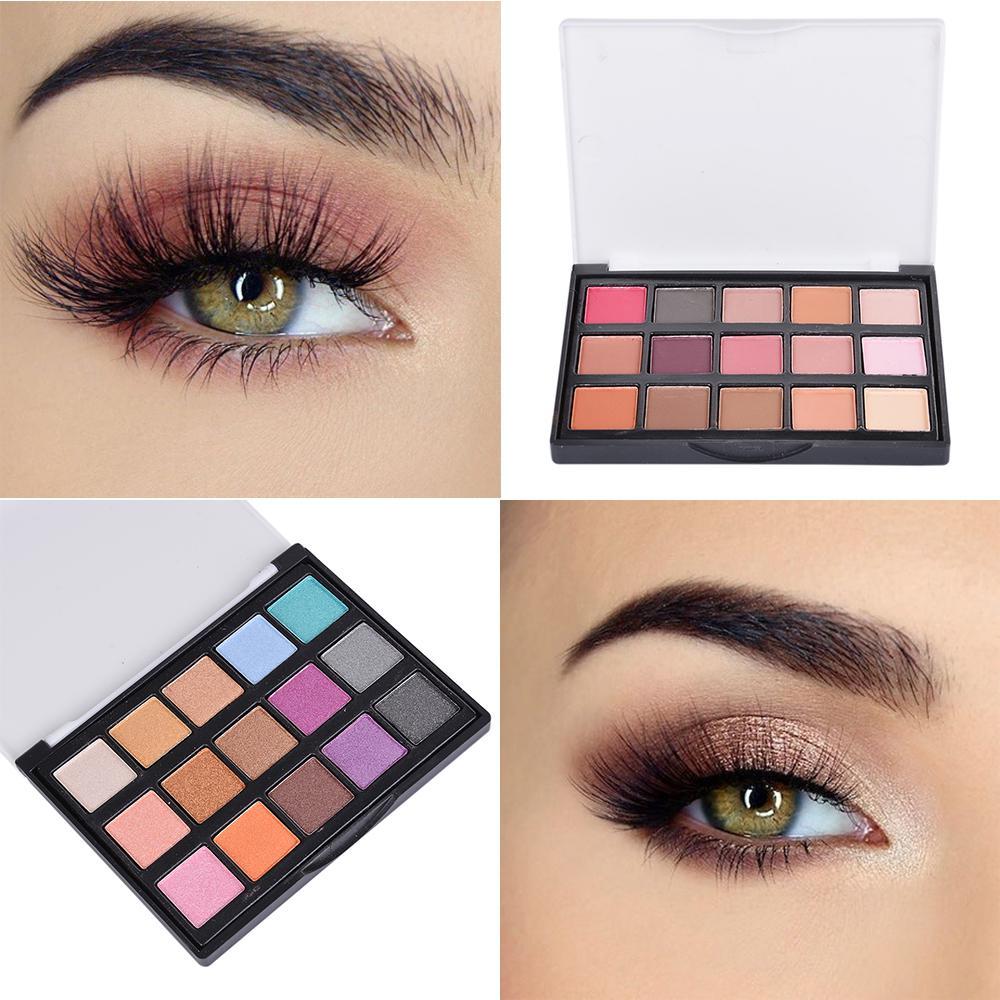 15 Цветов Eye Shadow Макияж Eyehsadow Палитра Порошок Косметический набор Блеск Обнаженная Матовый макияж фото