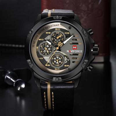Mens Top Brand Naviforce Fashion Quartz Watches Leather Strap Military Sport Wristwatch