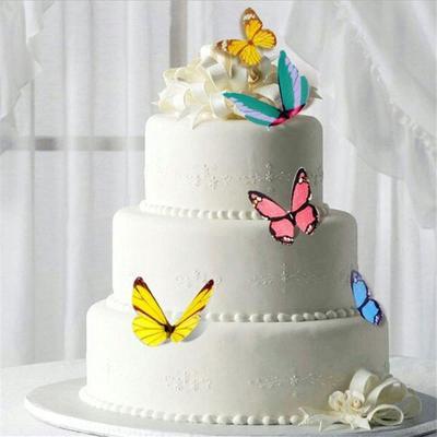 50Pcs Edible Flowers Cupcake Topper Glutinous Rice Paper Water Cake Decoration#