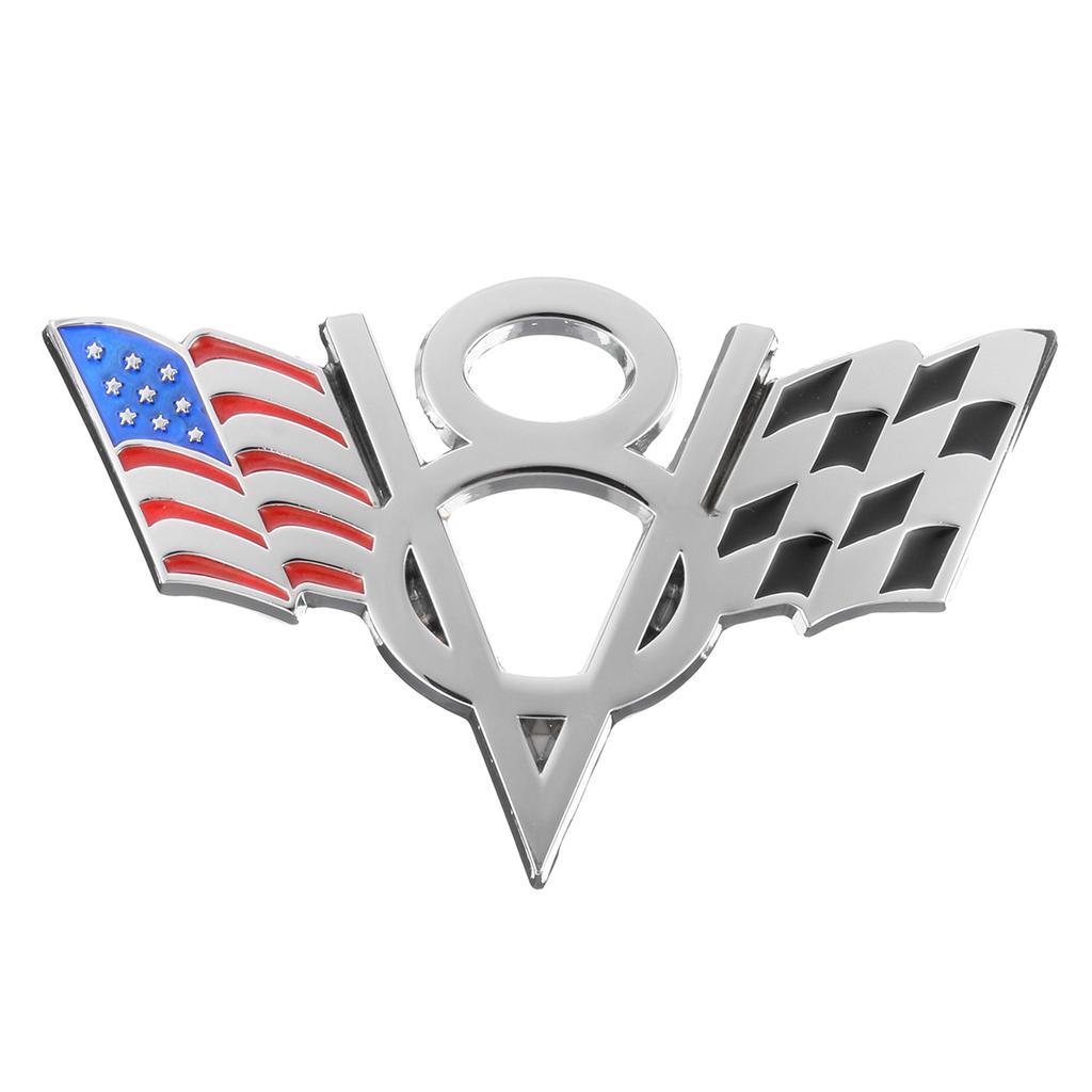 2pcs Auto Car V8 Vintage Logo Chrome Trunk Metal Emblem Badge Decal Sticker