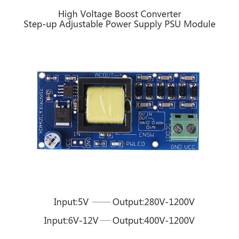 Alto voltaje convertidor Boost DC-DC 5/V-12/V entrada 300/V-1200/V m/ódulo de fuente de alimentaci/ón m/ódulo de potencia de salida placa de circuito Booster de conversi/ón de voltaje regulaci/ón de voltaje