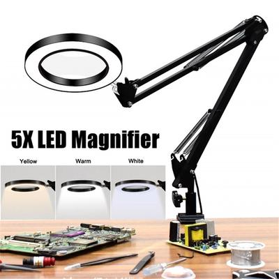 Large Lens Table Top Desk Lamp Lighted Magnifier Magnifying