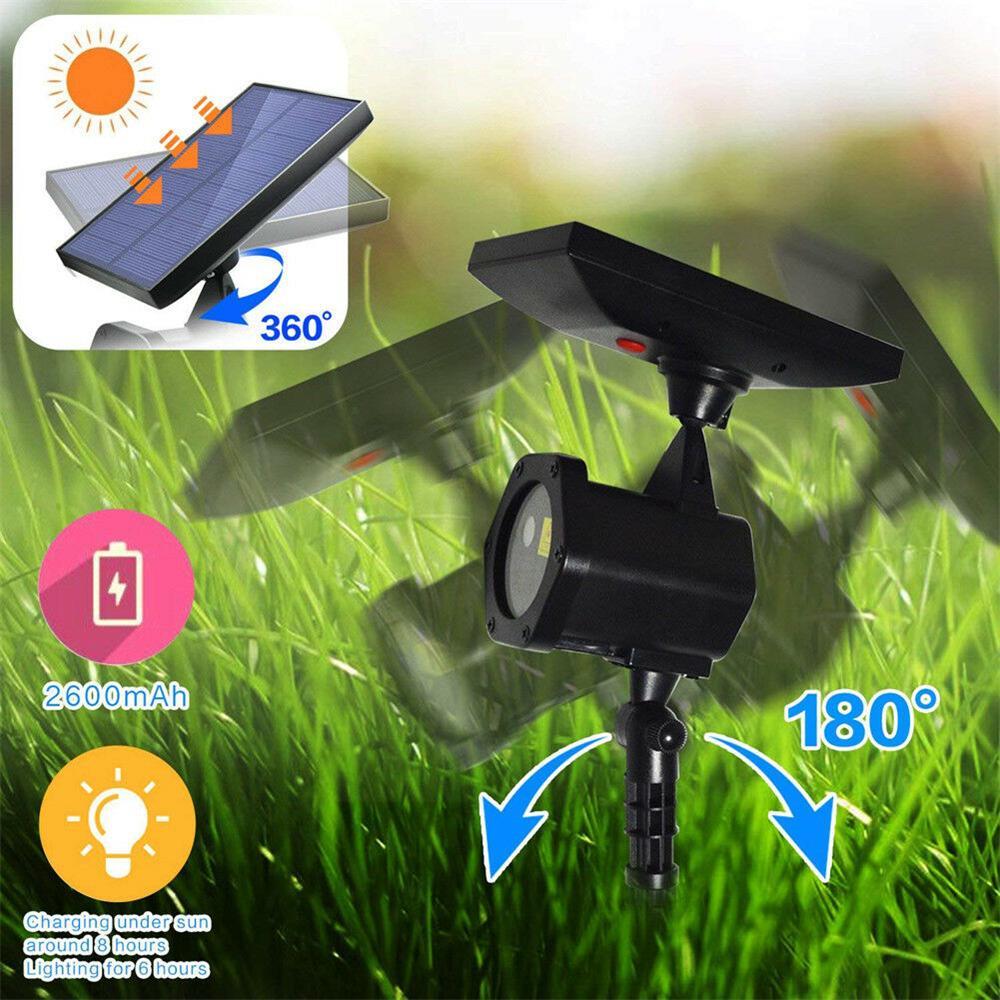 Solar-Powered Outdoor Garden Yard Decor LED Projector Spot Light 4 LED Light
