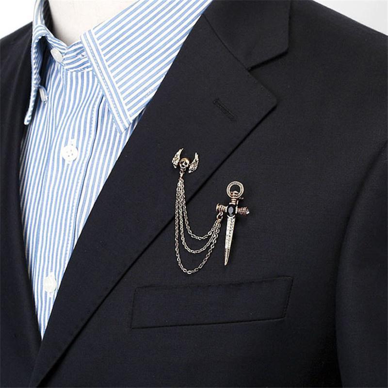 2pcs Chain Tassel Blouse Shirt Collar Tip Pin Brooch Clip Shirt Collar Pins