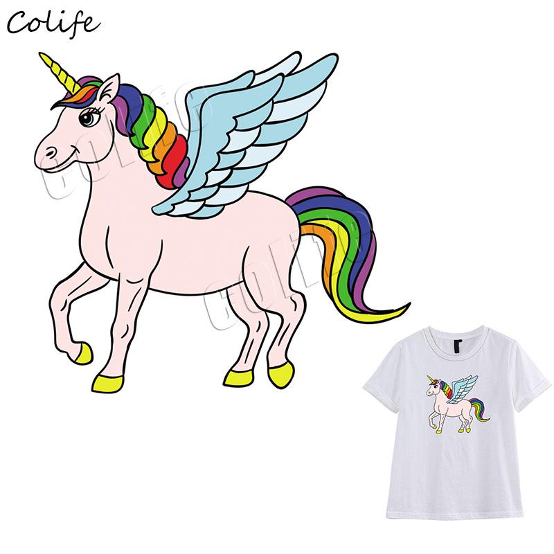 Unicorn Cu Aripi De înger Fier Pe Aplicatiile Autocolant Insigna Rochie Haine Diy Căldură Transferuri Animale Patch