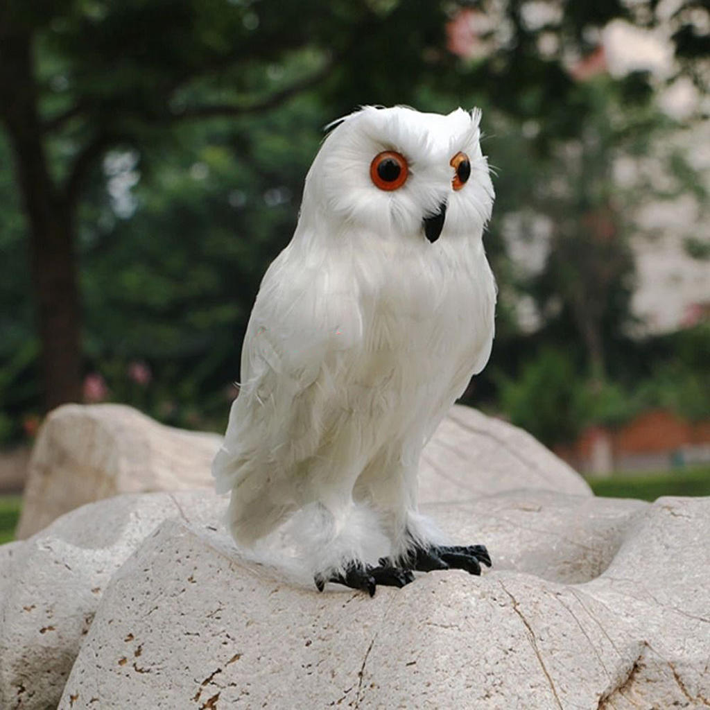 Fake Artificial Owl Bird Feathered Realistic Garden Home Ornament 2 Colors