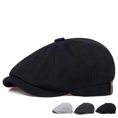 Newsboy Cap Men's Cotton Fashion Beret Autumn and Winter Warm Flat Hats