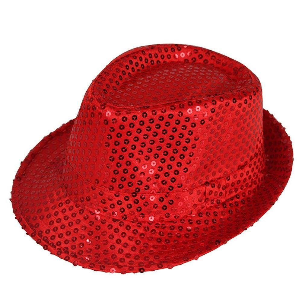 Hombres mujeres Fedora sombrero lentejuelas Unisex Danza Jazz Club ... a7b26490c21