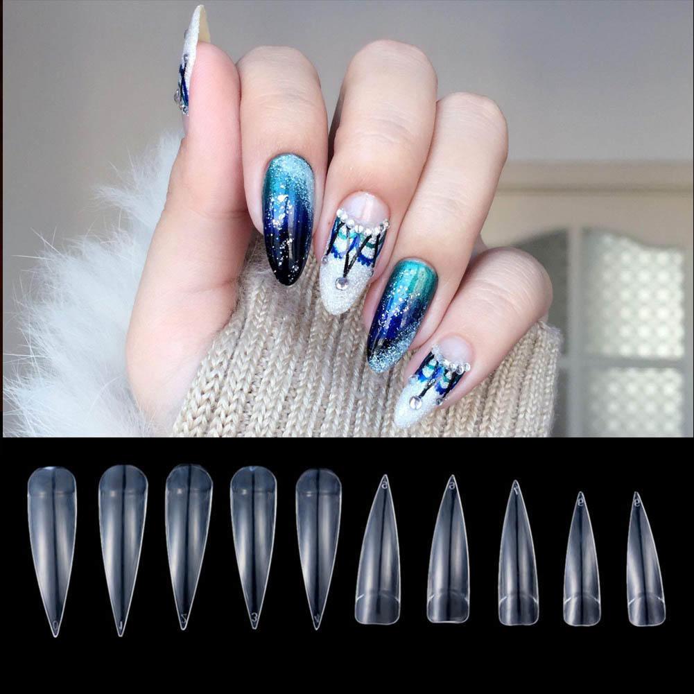 Largo aguja Vampire Queen uñas postizas falsas uñas puntiagudas ...