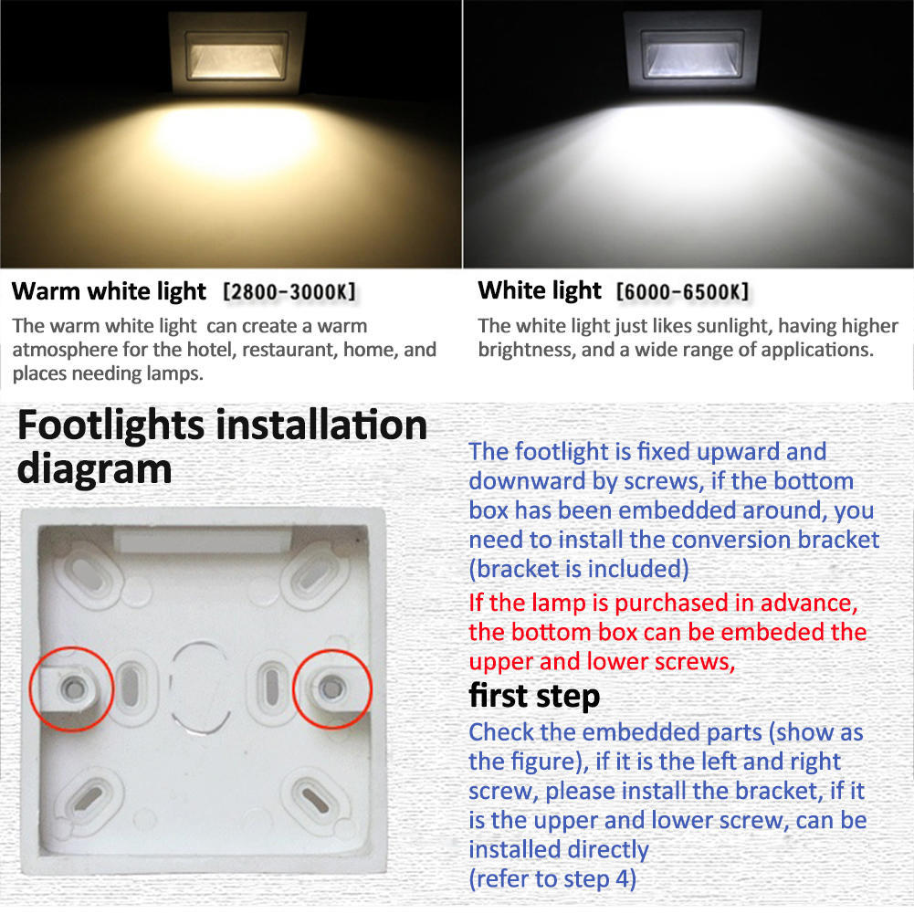 Type 86 Embedded Wall Lamp Led Footlights Corner Lights 3w Bottom Rondaful Motion Wiring Diagram 1 Of 11