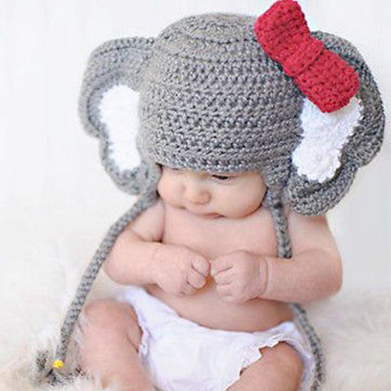 Дитина слон тварин Bowknot фото Prop гачком в язати вовни капелюх ... 373d55c9ccb52