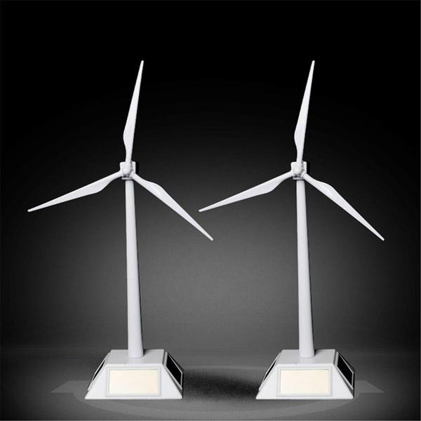 White Model-Solar Powered Windmill Wind Turbine Desktop Farm Decor Science Toys