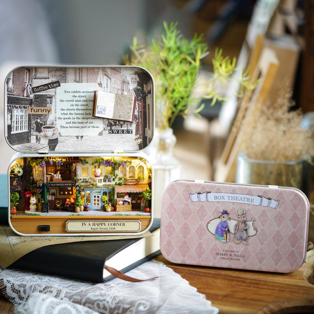 Box Theatre Nostalgic Theme DIY Miniature Scene Model Wooden Puzzle Toys