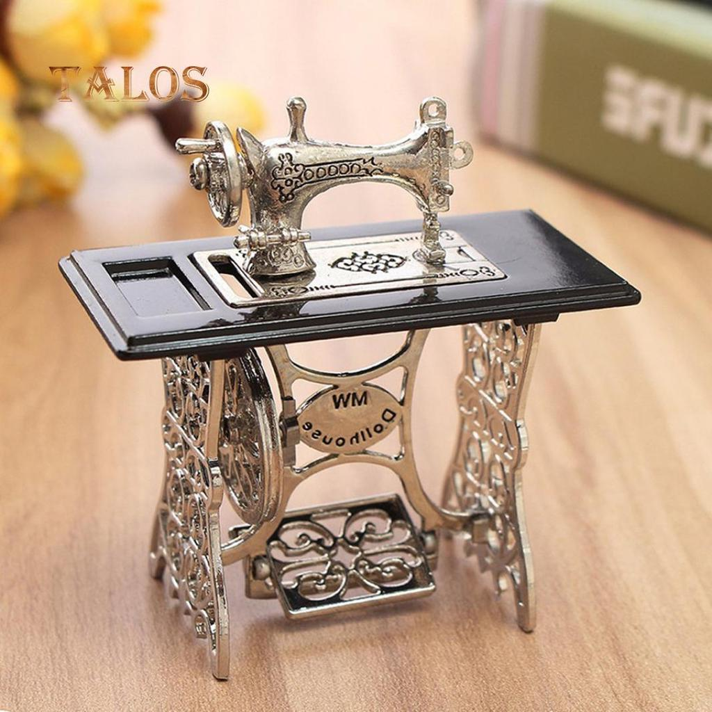 Miniature Sewing Machine With Cloth for 1//12 Scale Dollhouse Decoration LW