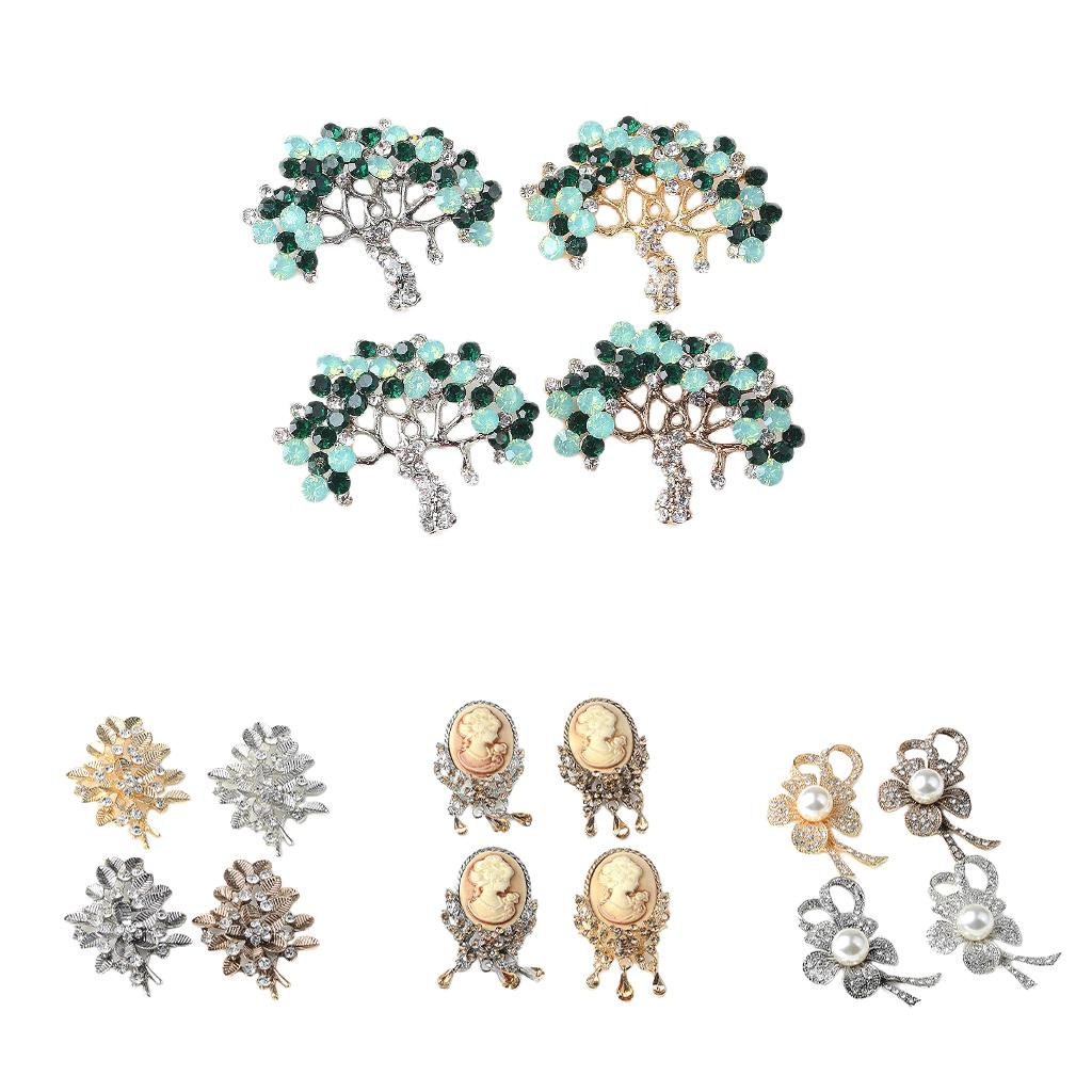 5pcs Crystal Pearl Flower Tree Buttons Jewelry Making Findings Accessories