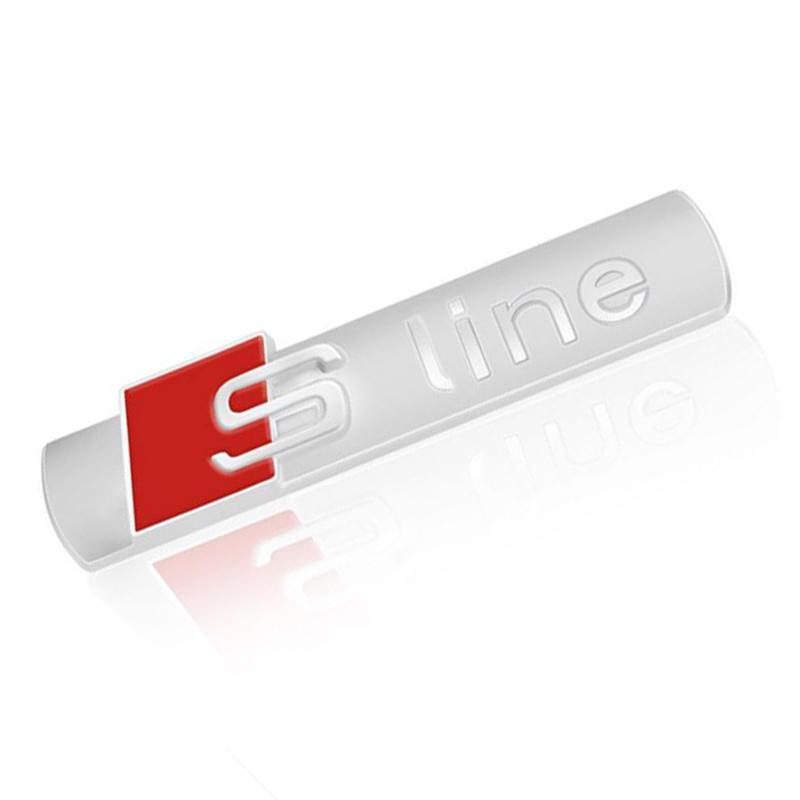 Chrome Silver Red Audi sLine Badge Logo Boot Wing Rear Glossy Emblem Sticker 7cm