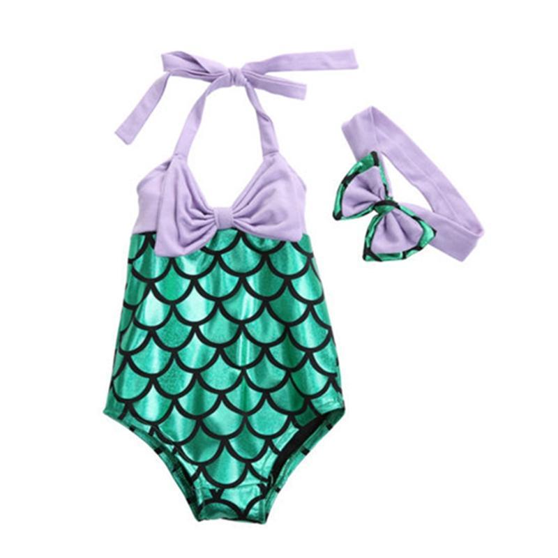 NWT Girls Mermaid Blue Swimsuit One Piece Bathing Suit 2T 3T 4T 5T