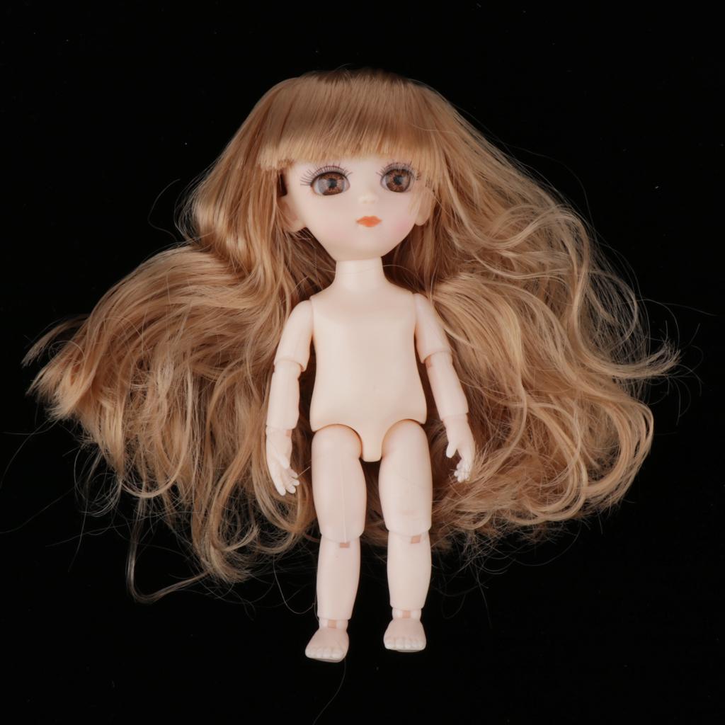1//12 BJD DIY Lovely 13 Jointed Dolls 3D Eyes Handmade Brown Curly Hair Boy