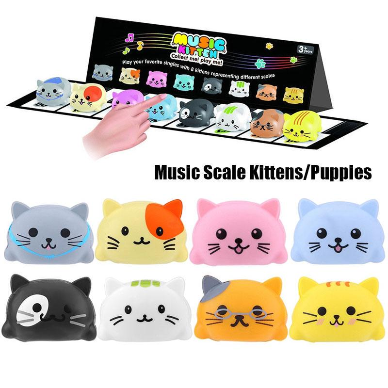 8pcs Musical Toys Kittens Piano Play Music Toy Touch Sensitive Play Safety Learn Singing Funny Toy with Packing Box