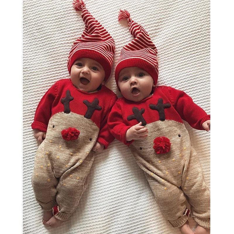 Bebé recién nacido Niño niñas Navidad mameluco mono ropa traje Set +  sombrero aae09cf6bdba