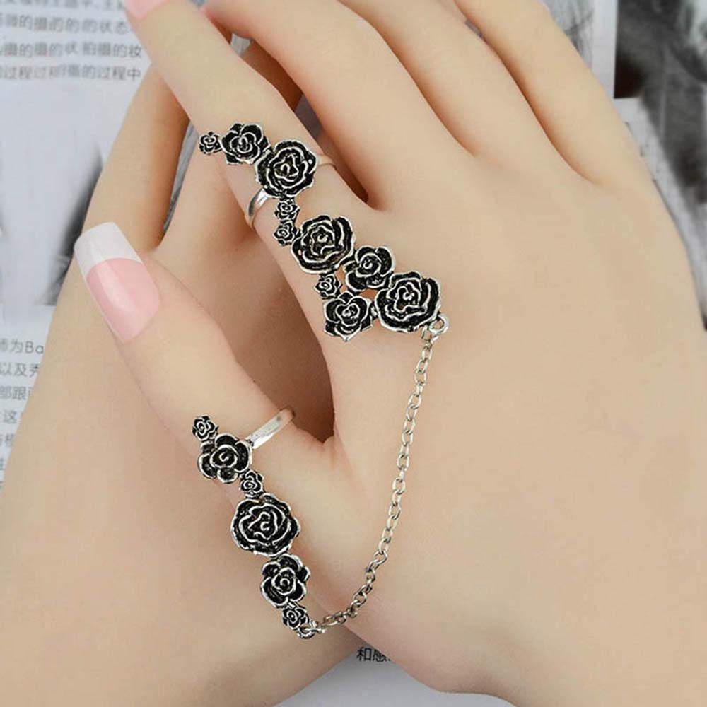 540b274c63a8 Color enlace chicas moda rosa para mujeres hueco Retro dos dedos ...
