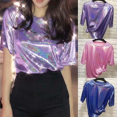 Summer Personality Tops Women Ladies Loose Shiny Reflective Short Sleeve T Shirt Tees Buy At A Low Prices On Joom E Commerce Platform