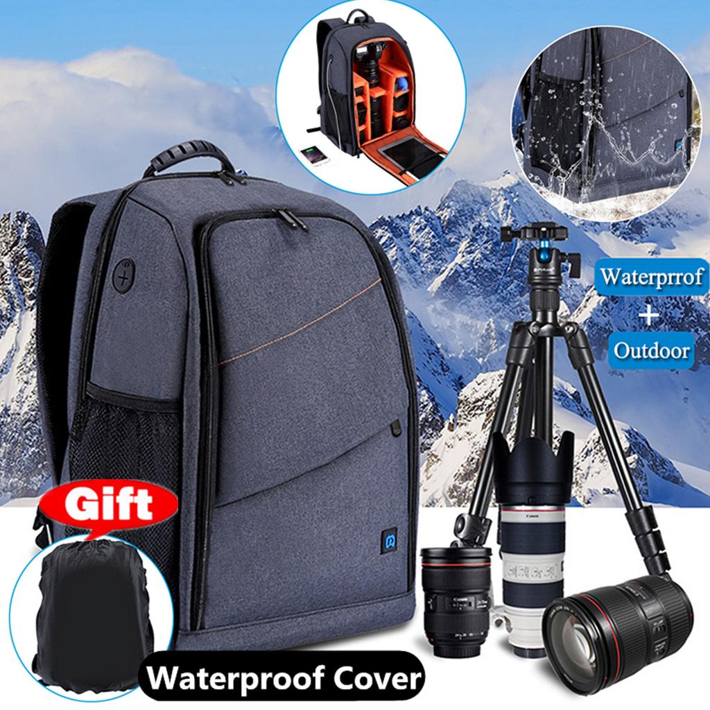Stylish Casual SLR Camera Backpack Lightweight Large-Capacity Camera Bag Waterproof Oxford Cloth Outdoor Travel Collection Laptop Bag Sports Backpack