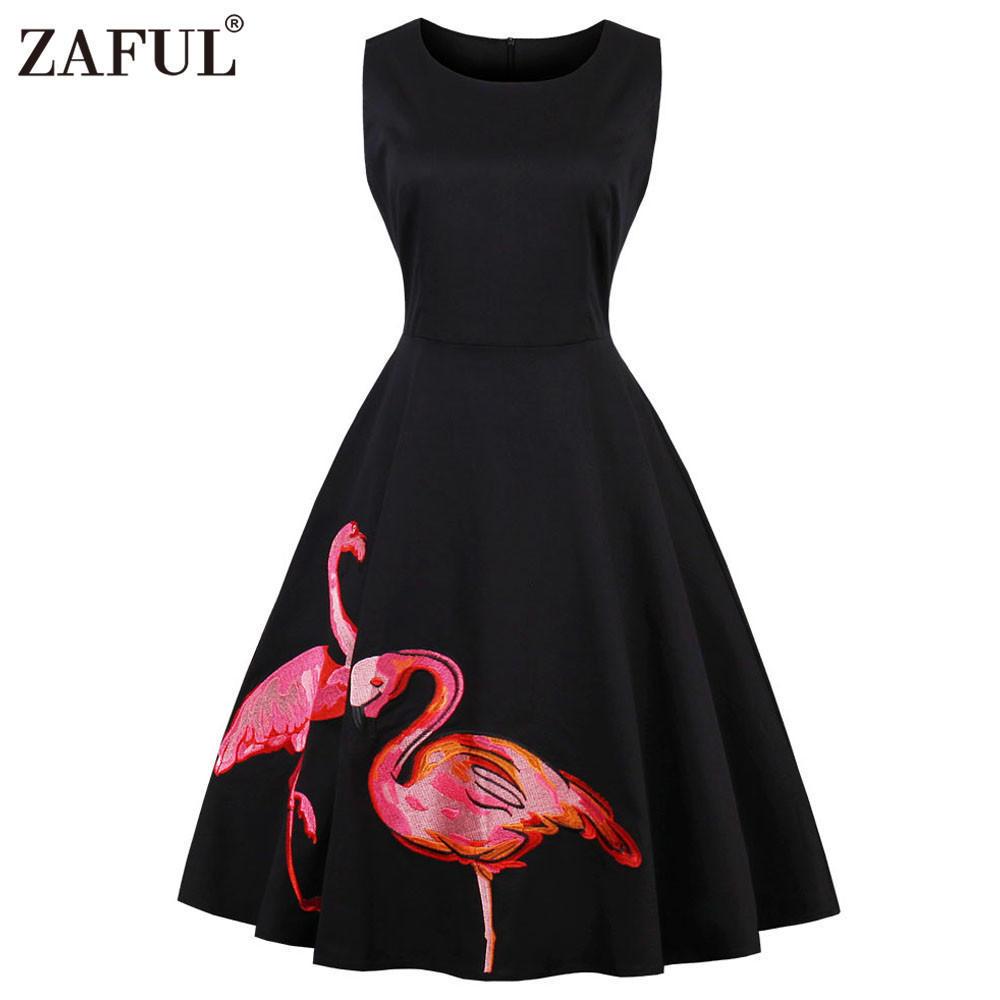 ae5f3e52e1d65 Zaful Hepburn Vintage Two Flamingo Printing Sleeveless Dress-buy at a low  prices on Joom e-commerce platform