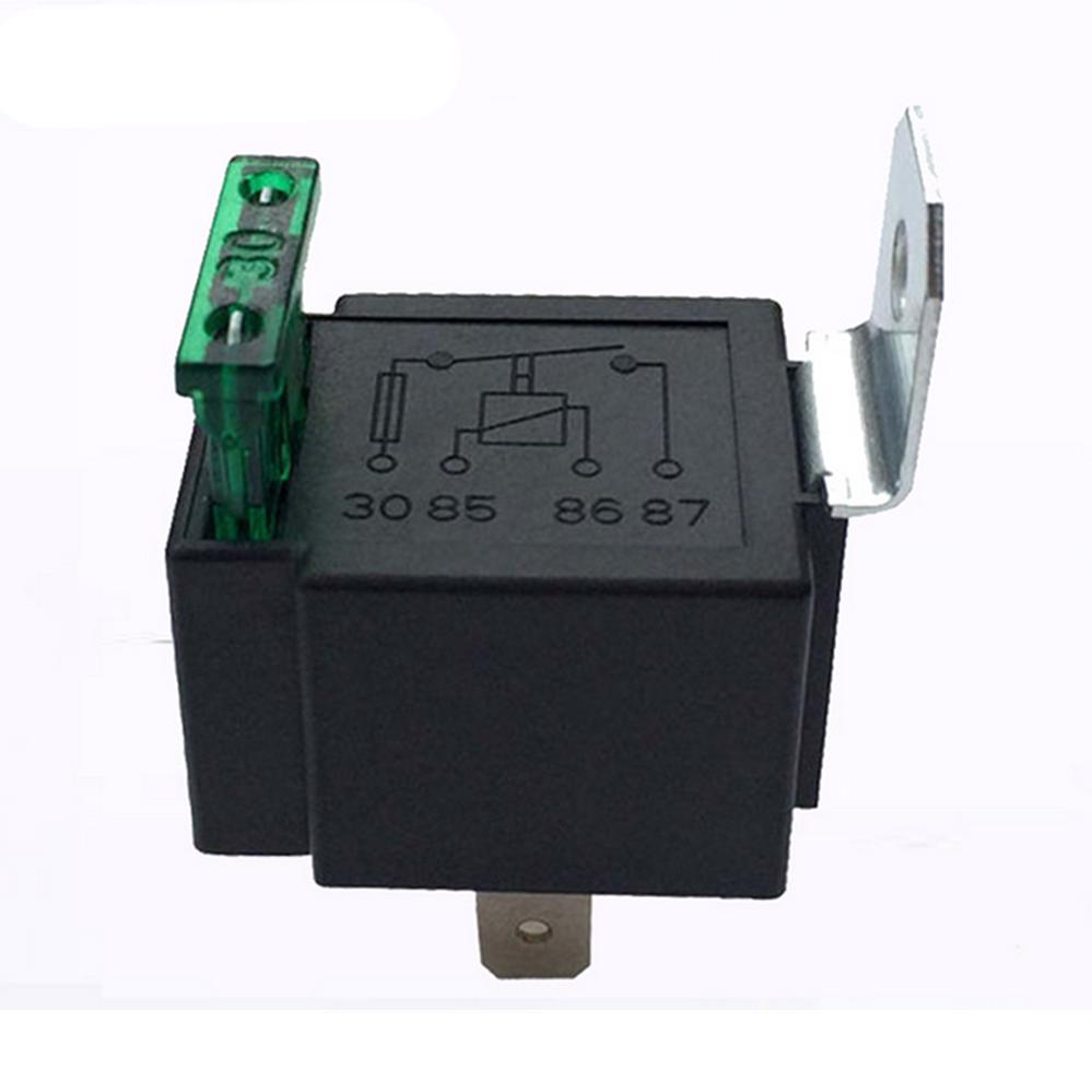 Black 4-Pin DC 12V 30A Car Normally Open Contacts Fused Relay On//Off With Bracket Relay with Automotive Fuses for Automotive and Lamp Accessory Applications Car Relay