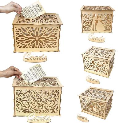 Wedding Card Box With Lock Diy Money Wooden Gift Boxes For Birthday Party Buy At A Low Prices On Joom E Commerce Platform