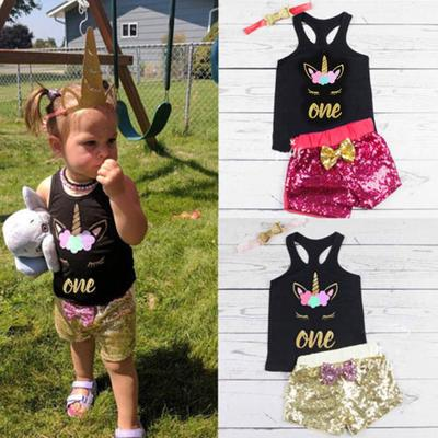 bf9f0b4771b0a Kids Baby Girls 2PCS Clothes Letter Print T-shirt +Sequins Shorts Set  Outfit Set